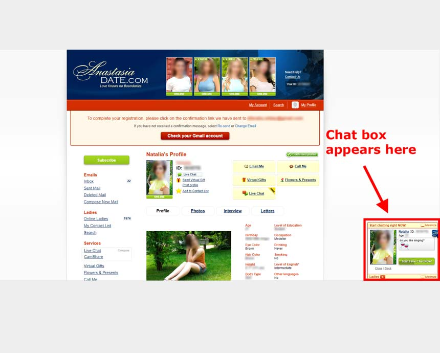 Anastasia.com's floating chat box at the corner