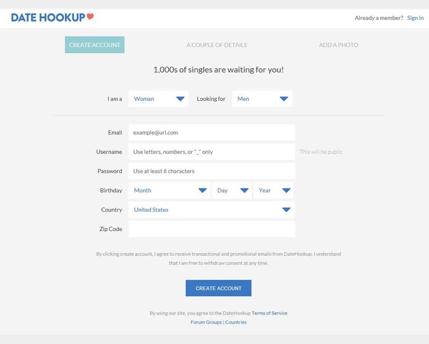 Datehookup login signup