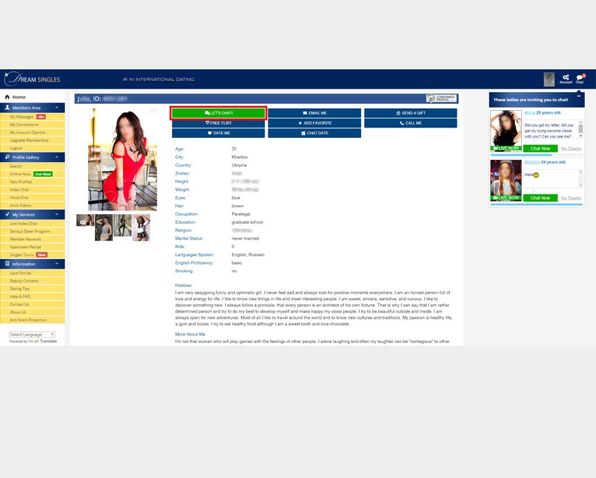 Member's profile page on Dream-Singles.com