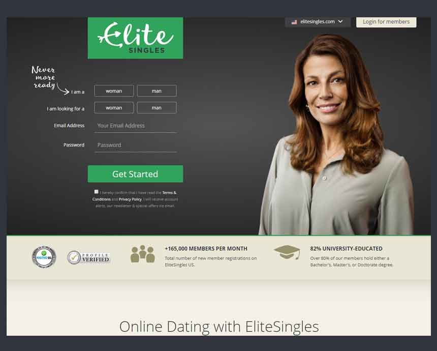EliteSingles home page.