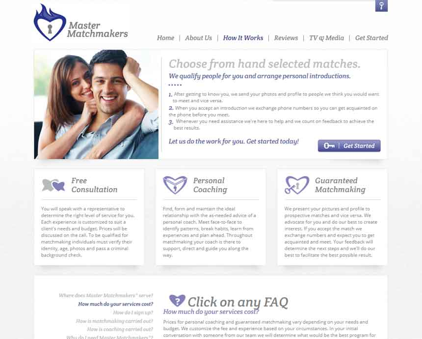 Mastermatchmakers.com website homepage