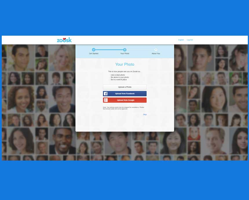Zoosk signup process.